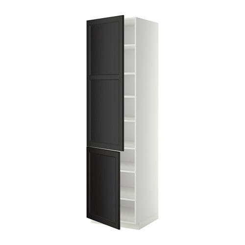 METOD Hoge kast met planken  2 deuren   wit, Laxarby zwartbruin, 60x60x220 cm   IKEA