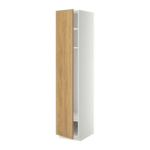 METOD Hoge kast met planken  draadmand   wit, Hyttan eikenfineer, 40x60x200 cm   IKEA