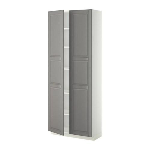 METOD Hoge kast met planken   80x37x200 cm, Bodbyn grijs, wit   IKEA
