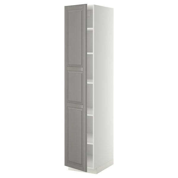 METOD Hoge kast met planken, wit/Bodbyn grijs, 40x60x200 cm
