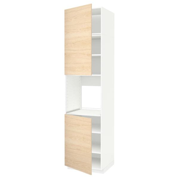 METOD Hoge kast oven & 2 deur/plank, wit/Askersund licht essenpatroon, 60x60x240 cm