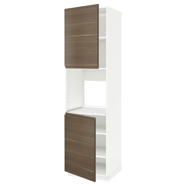 METOD Hoge kast oven & 2 deur/plank, wit/Voxtorp walnootpatroon, 60x60x220 cm