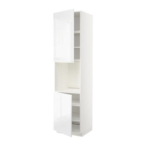Hoogglans Witte Servieskast.Metod Hoge Kast Oven 2 Deur Plank Wit Voxtorp Hoogglans Wit