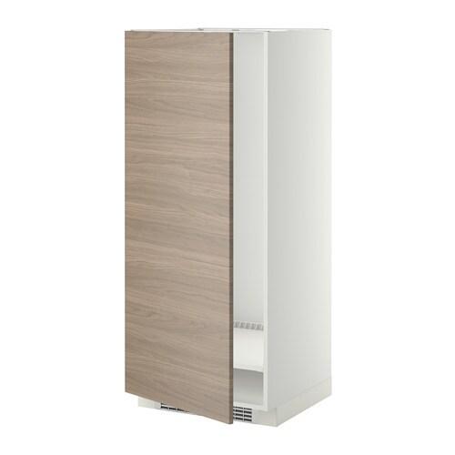 metod hoge kast voor koelkast vriezer wit brokhult walnootpatroon lichtgrijs 60x60x140 cm ikea. Black Bedroom Furniture Sets. Home Design Ideas