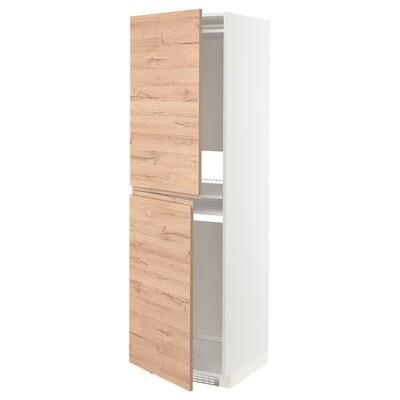 METOD Hoge kast voor koelkast/vriezer, wit/Voxtorp eikenpatroon, 60x60x200 cm