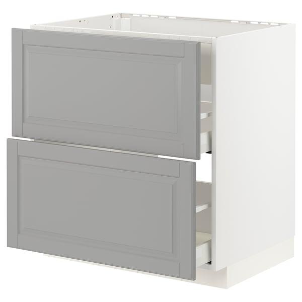 METOD / MAXIMERA onderkast m kookpl/geïnt afzuigk&la wit/Bodbyn grijs 80.0 cm 61.6 cm 88.0 cm 60.0 cm 80.0 cm