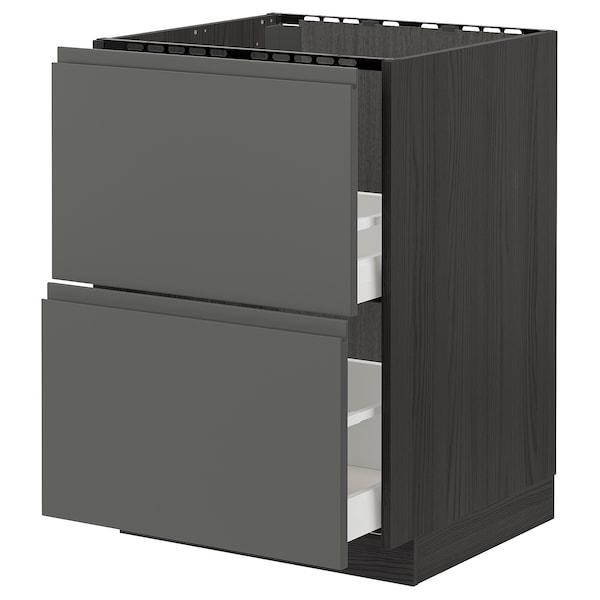 METOD / MAXIMERA onderkast spoelbak+2 front/2 lades zwart/Voxtorp donkergrijs 60.0 cm 62.1 cm 88.0 cm 60.0 cm 80.0 cm