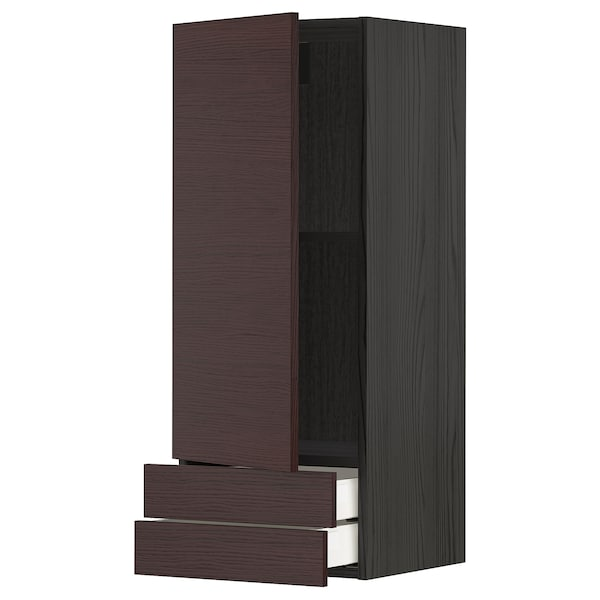 METOD / MAXIMERA Bovenkast m deur/2 lades, zwart Askersund/donkerbruin essenpatroon, 40x100 cm
