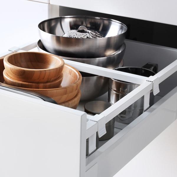 METOD / MAXIMERA hoge kast&plank/4 lade/deur/2 front wit/Häggeby wit 40.0 cm 61.6 cm 228.0 cm 60.0 cm 220.0 cm