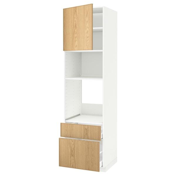 METOD / MAXIMERA hoge kast oven/magn & deur/2 lades wit/Ekestad eiken 60.0 cm 61.9 cm 228.0 cm 60.0 cm 220.0 cm