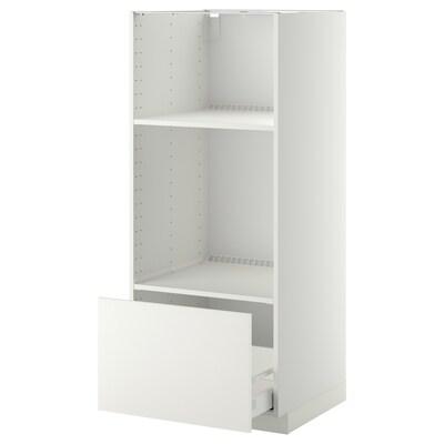 METOD / MAXIMERA hoge kast oven/magn met lade wit/Häggeby wit 60.0 cm 61.6 cm 148.0 cm 60.0 cm 140.0 cm