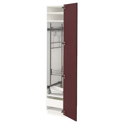 METOD / MAXIMERA hoge kast & inrichting schoonmkast wit Kallarp/hoogglans donker roodbruin 40.0 cm 61.6 cm 208.0 cm 60.0 cm 200.0 cm