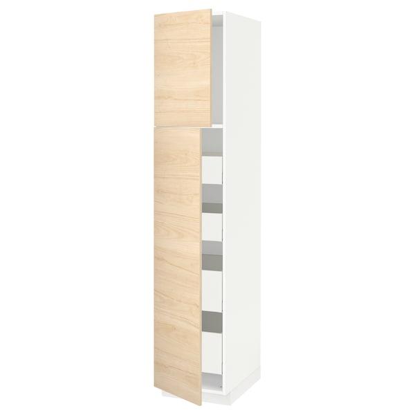 METOD / MAXIMERA Hoge kast met 2 deuren/4 lades, wit/Askersund licht essenpatroon, 40x60x200 cm