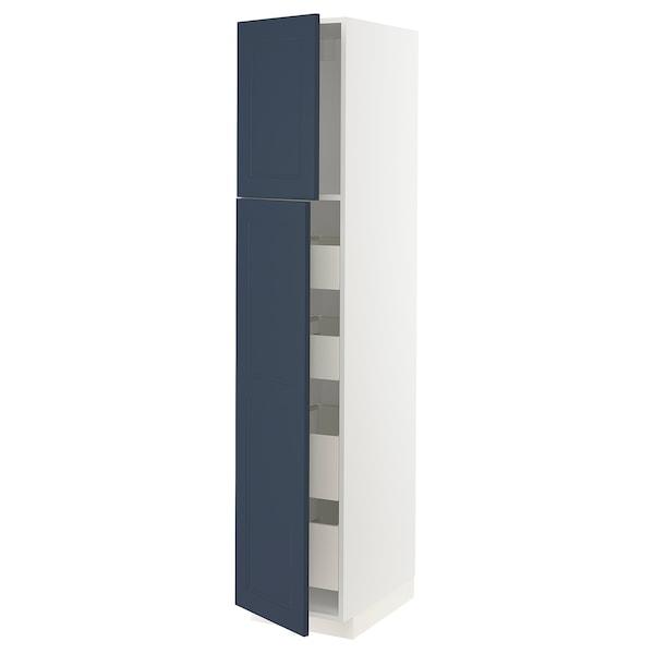 METOD / MAXIMERA Hoge kast met 2 deuren/4 lades, wit Axstad/mat blauw, 40x60x200 cm