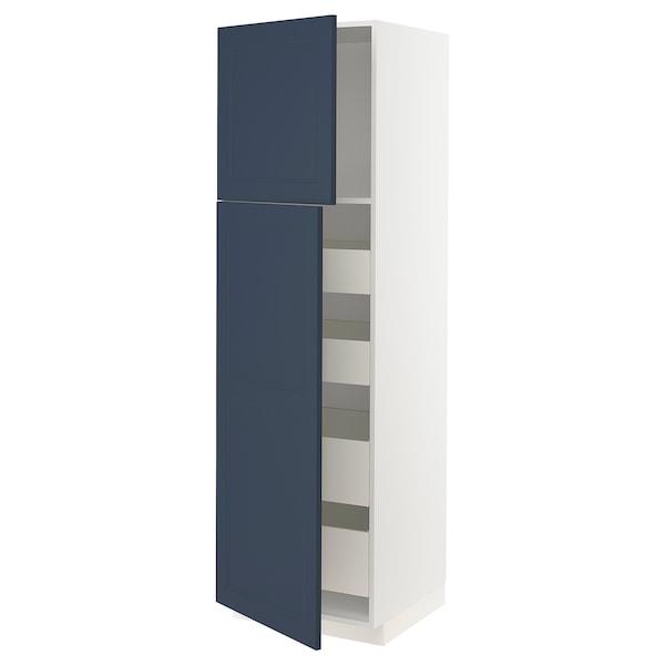 METOD / MAXIMERA Hoge kast met 2 deuren/4 lades, wit Axstad/mat blauw, 60x60x200 cm