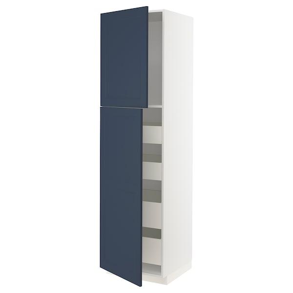 METOD / MAXIMERA Hoge kast met 2 deuren/4 lades, wit Axstad/mat blauw, 60x60x220 cm