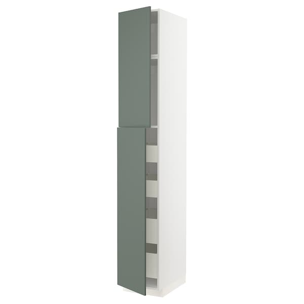 METOD / MAXIMERA Hoge kast met 2 deuren/4 lades, wit/Bodarp grijsgroen, 40x60x240 cm