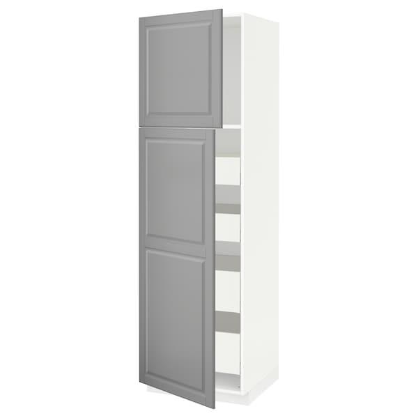 METOD / MAXIMERA Hoge kast met 2 deuren/4 lades, wit/Bodbyn grijs, 60x60x200 cm
