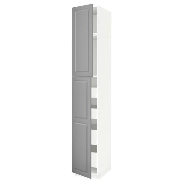 METOD / MAXIMERA Hoge kast met 2 deuren/4 lades, wit/Bodbyn grijs, 40x60x240 cm