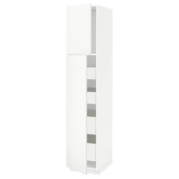 METOD / MAXIMERA Hoge kast met 2 deuren/4 lades, wit/Häggeby wit, 40x60x200 cm