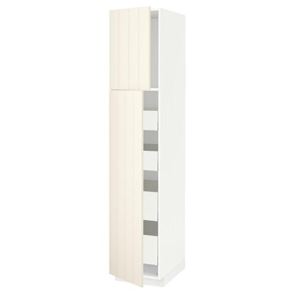 METOD / MAXIMERA Hoge kast met 2 deuren/4 lades, wit/Hittarp ecru, 40x60x200 cm