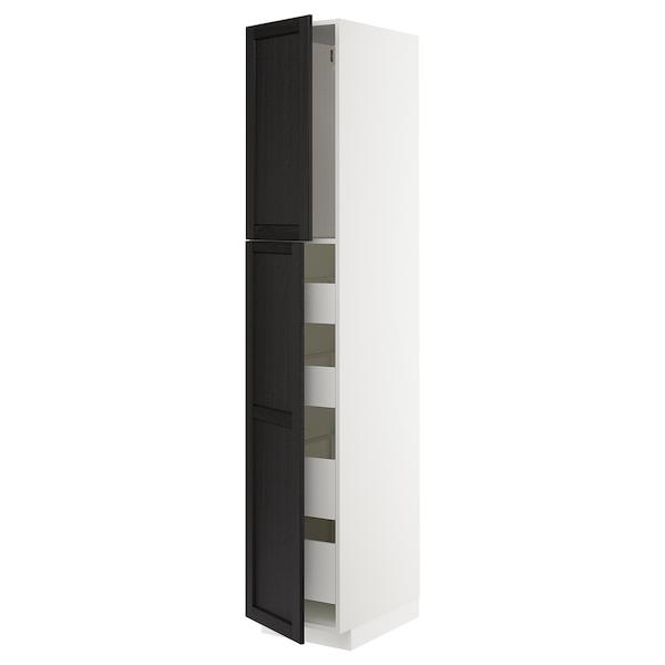 METOD / MAXIMERA Hoge kast met 2 deuren/4 lades, wit/Lerhyttan zwart gelazuurd, 40x60x220 cm