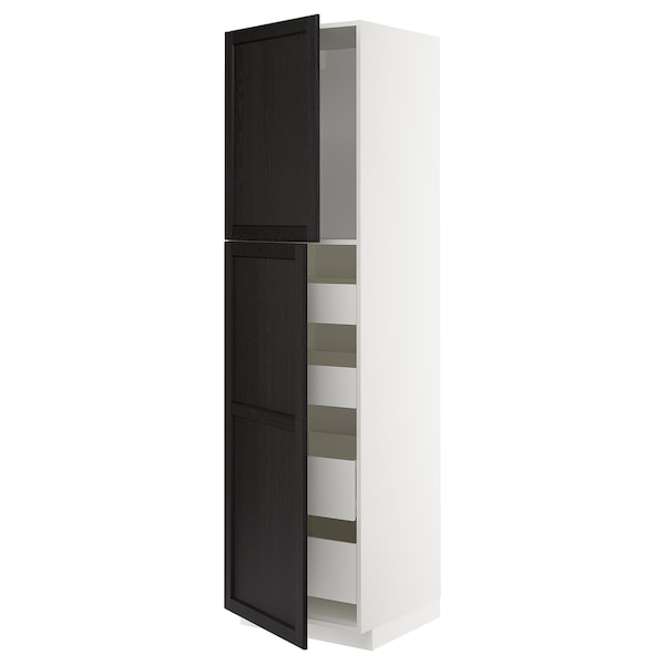 METOD / MAXIMERA Hoge kast met 2 deuren/4 lades, wit/Lerhyttan zwart gelazuurd, 60x60x220 cm