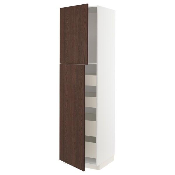 METOD / MAXIMERA Hoge kast met 2 deuren/4 lades, wit/Sinarp bruin, 60x60x220 cm