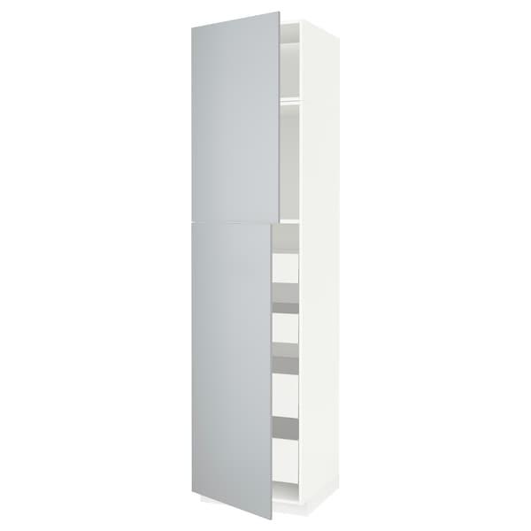 METOD / MAXIMERA Hoge kast met 2 deuren/4 lades, wit/Veddinge grijs, 60x60x240 cm