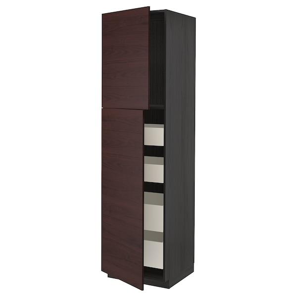 METOD / MAXIMERA Hoge kast met 2 deuren/4 lades, zwart Askersund/donkerbruin essenpatroon, 60x60x220 cm