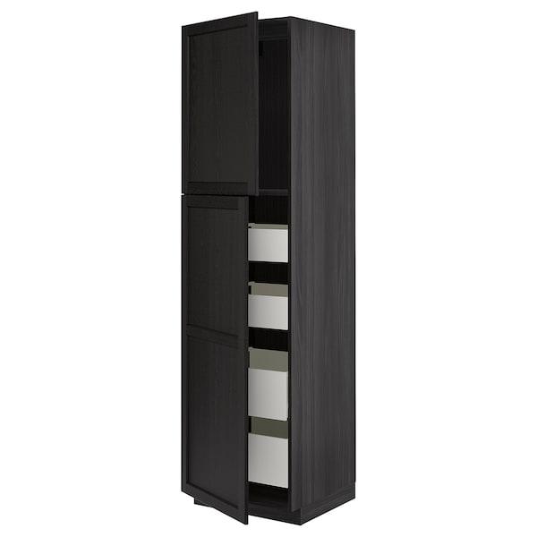 METOD / MAXIMERA Hoge kast met 2 deuren/4 lades, zwart/Lerhyttan zwart gelazuurd, 60x60x220 cm