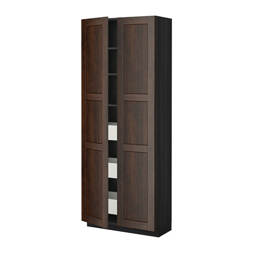 metod maximera hoge kast met lades 2 deuren edserum houtpatroon bruin houtpatroon zwart ikea. Black Bedroom Furniture Sets. Home Design Ideas