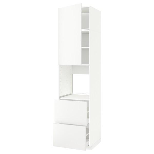 METOD / MAXIMERA Hoge kast voor oven + deur/2 lades, wit/Häggeby wit, 60x60x240 cm