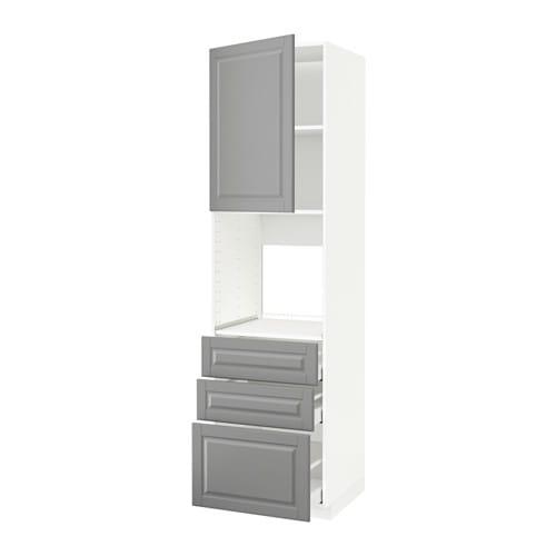 METOD / MAXIMERA Hoge kast voor oven + deur/3 lades - wit, Bodbyn ...
