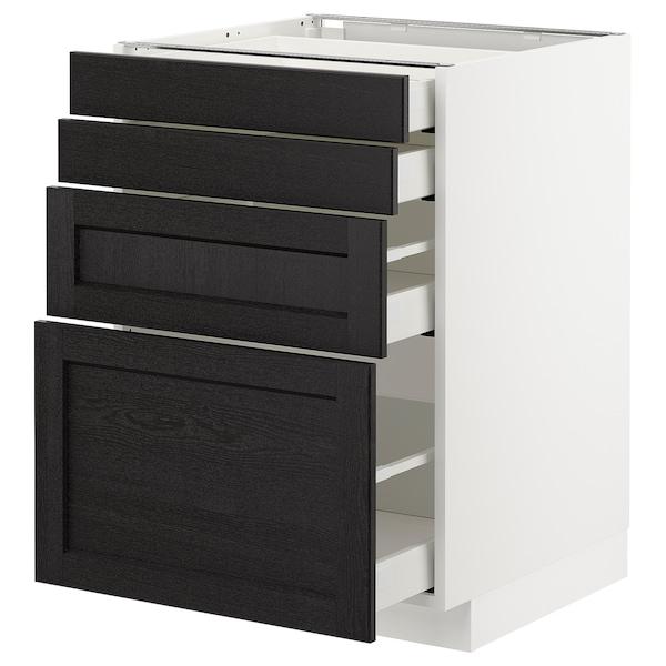 METOD / MAXIMERA Onderkast 4 fronten/4 lades, wit/Lerhyttan zwart gelazuurd, 60x60 cm