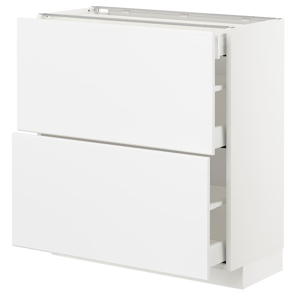 METOD / MAXIMERA Onderkast m 2front/3lades, wit/Kungsbacka mat wit, 80x37 cm