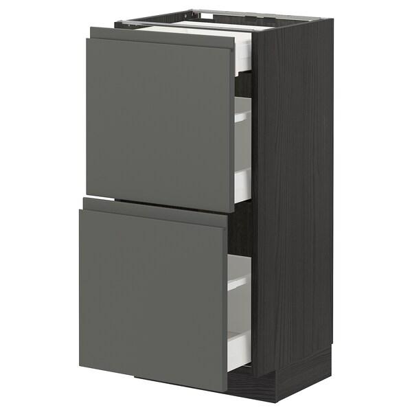 METOD / MAXIMERA Onderkast m 2front/3lades, zwart/Voxtorp donkergrijs, 40x37 cm