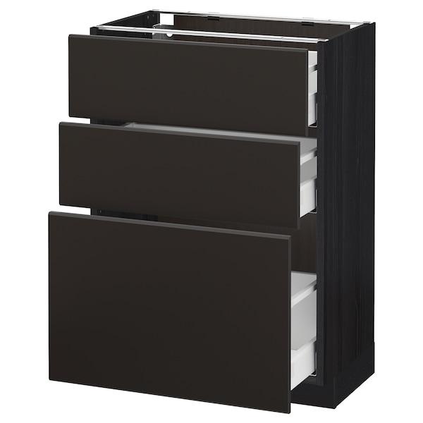 METOD / MAXIMERA Onderkast met 3 lades, zwart/Kungsbacka antraciet, 60x37 cm