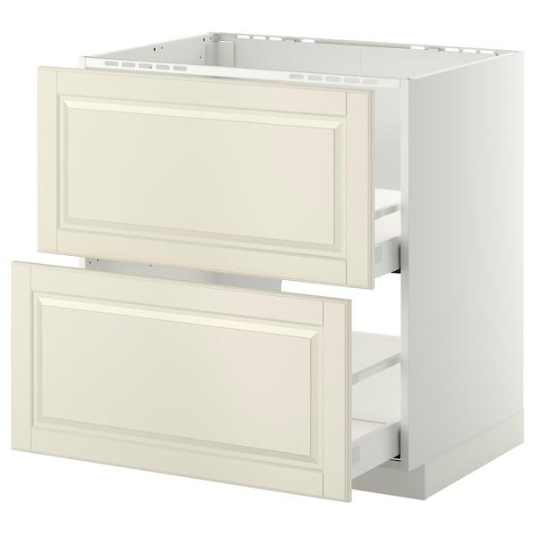 METOD / MAXIMERA Onderkast spoelbak+2 front/2 lades, wit/Bodbyn ecru, 80x60 cm