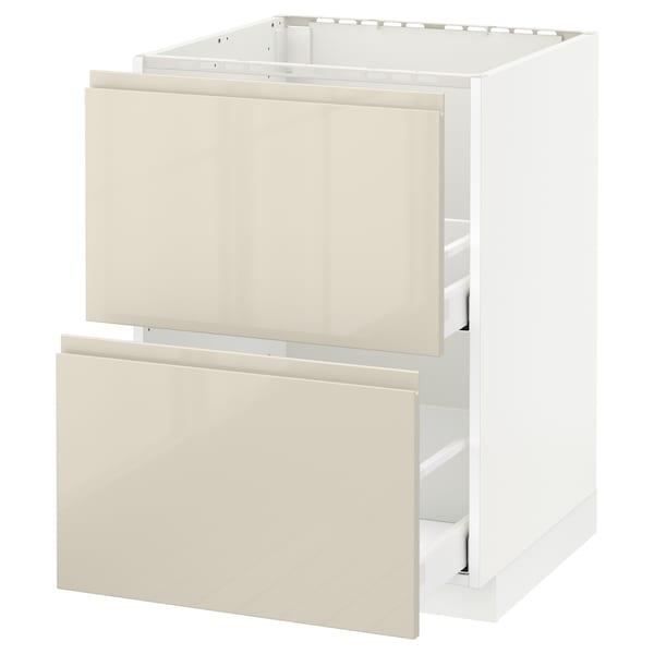 METOD / MAXIMERA Onderkast spoelbak+2 front/2 lades, wit/Voxtorp hoogglans lichtbeige, 60x60 cm