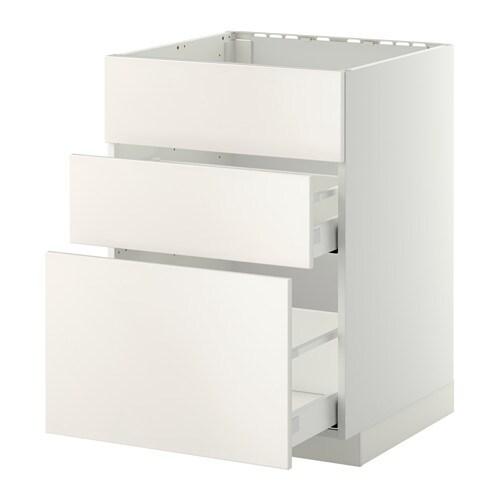 Metod Maximera Onderkast Spoelbak 3 Front 2 Lades 60x60 Cm Veddinge Wit Wit Ikea