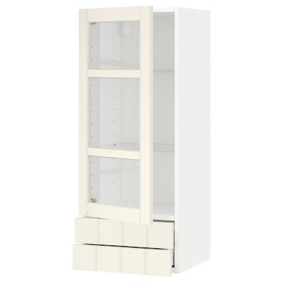 METOD / MAXIMERA bovenkast met vitrinedeur/2 lades wit/Hittarp ecru 40.0 cm 38.8 cm 100.0 cm
