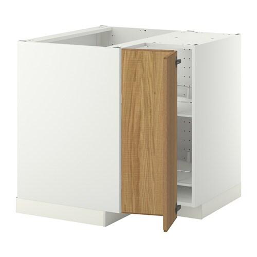METOD Onderhoekkast met carrousel - wit, Hyttan eikenfineer - IKEA