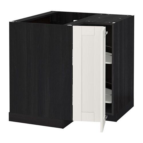 metod onderhoekkast met carrousel houteffect zwart s vedal wit ikea. Black Bedroom Furniture Sets. Home Design Ideas