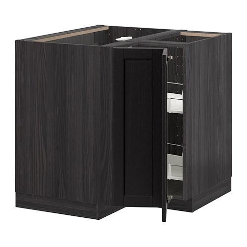 metod onderhoekkast met carrousel houteffect zwart lerh zwart gelazuurd ikea. Black Bedroom Furniture Sets. Home Design Ideas