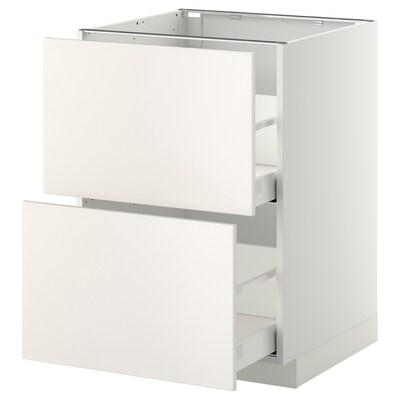 METOD Onderkast 2 fronten/2 hoge lades, wit/Veddinge wit, 60x60 cm