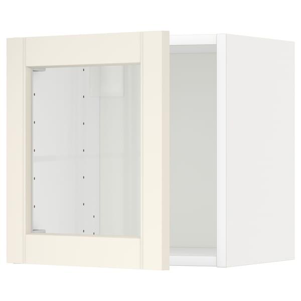 METOD bovenkast met vitrinedeur wit/Hittarp ecru 40.0 cm 38.8 cm 40.0 cm