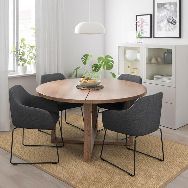 MÖRBYLÅNGA / TOSSBERG tafel en 4 stoelen eikenfineer bruin gelazuurd/metaal grijs 145 cm