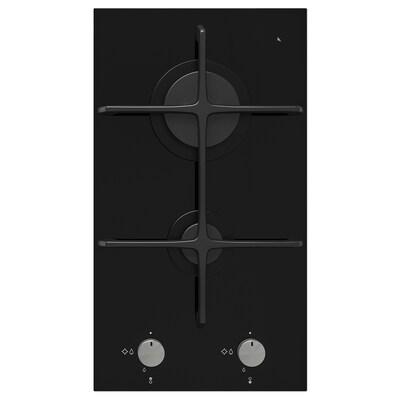 MÖJLIG Domino gaskookplaat 2 branders, zwart, 29 cm