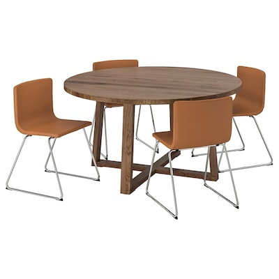 MÖRBYLÅNGA / BERNHARD Tafel en 4 stoelen, eikenfineer bruin gelazuurd/Mjuk goudbruin, 145 cm